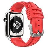 MoKo Armband für Apple Watch 42mm, Silikon Sportarmband Uhrenarmband Erstatzband für Apple Smartwatch 42mm Series 1 / 2 2016 / 2015, Armbandlänge 140mm-215mm?Rot