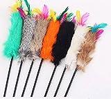 OULII Chaton chat jouet coloré doux Cony cheveux Cat Teaser jouet interactif baguette pour animaux de compagnie amusants cadeaux (couleur aléatoire)...