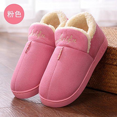 DogHaccd pantofole,Paio di pantofole di cotone alta femmina-pacchetto con elegante anti-slittamento interno e al di fuori della casa del anti-slittamento di spessore caldo cotone pantofole per uomini Rosa1