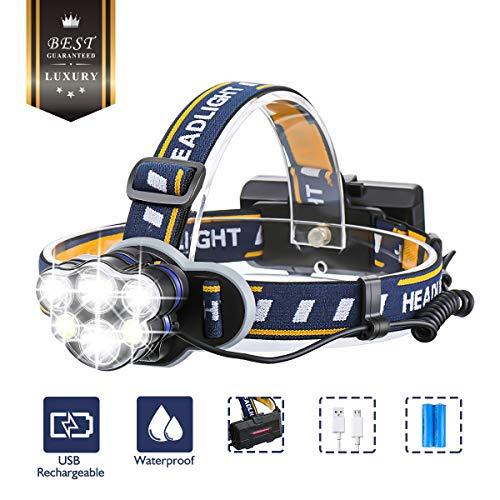 Stirnlampe superheller ,OUTERDO Kopflampe 6 LED 12000LM 8 Modi, Stirnleuchte USB und 2xBatterien, Kopfleuchte Ideal für Camping, Fischerei, Keller,Laufen, Campen, Wandern und Spaziereng