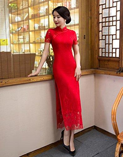 Angcoco Women's Red Lace Cheongsam Wedding Bride Dress China Qipao #0517