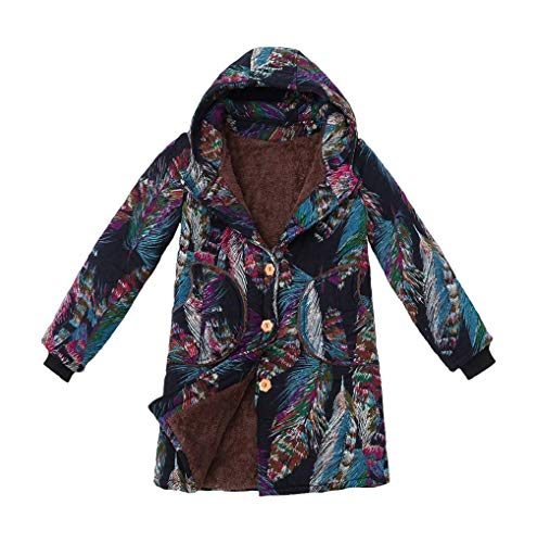 Missoul Womens Vintage Floral Print Hooded Outwear Winter Warm Thicken Fluffy Fur Cardigan Coat Cotton Linen Zipper Parka Jacket (Yg Blue) -
