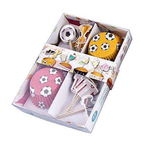 A.I.& E. Muffin und Cupcake Back Set mit Dekofähnchen Fussball, 48 Teile
