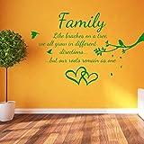 Familie Vögel und Zweige Zitat Love Wohnzimmer Kunst Wand Aufkleber Aufkleber Decor A372, Vinyl, Mittelgrün, Large-Set