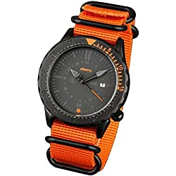 INFANTRY® Mens Analogue Wrist Watch Date Display Black Dial Sport Orange NATO ZULU Strap