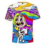 WYDHHLD Unisex 3D Printed T-Shirts 6ix9ine Rap Hip Hop Kurzarm Sommer Casual für Männer Frauen,A,XL