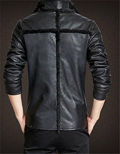 WS668 Winter Herren Warm Coat Leder Mantel Lamm Wolle Gefüttert Pelzkragen Motorrad Jacke 1167-Schwarz