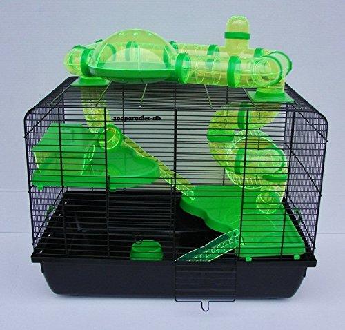 Nagerkäfig,Hamsterkäfig,Zwerghamsterkäfig,Mäüsekäfig,Käfig, Jerry II TUBA Teddy Galaxy 'Vollausstattung' grün