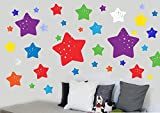 Childrens Colourful Stars - Pack of 46 - Repositionable Wall Art Vinyl Printed Stickers