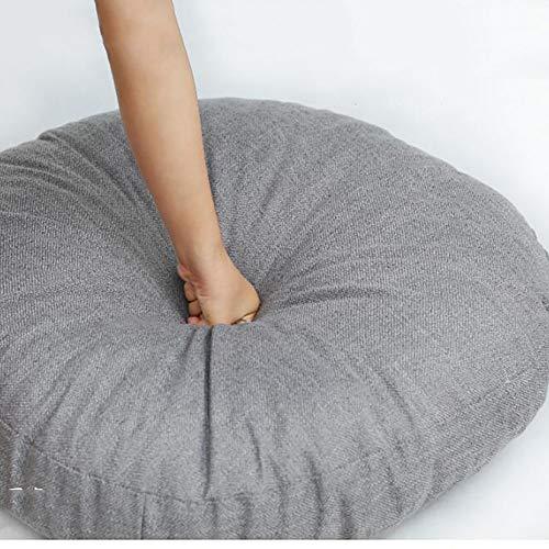 l-leinen-gewebe Sitzkissen, Extra Dicke Sitzkissen Faul, sofakissen Rückenlehne Bodenkissen Bay-Fenster Kissen Tatami Yoga-Matte-grau 70x70x15cm(28x28x6inch) ()