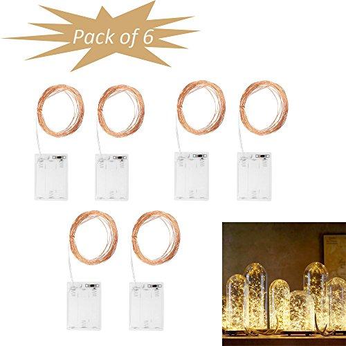 Flexible Seil-beleuchtung (Onerbuy Pack von 6 Starry LED Kupfer Draht String Lights Batterie betrieben Wasserdicht Mond Lichter DIY Dekor Seil Flexible Licht für Hochzeit Party Holiday Weihnachten (5M-Warmweiß))