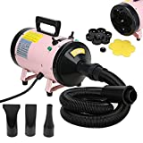 Voilamart 2800W Pink High Velocity Pet Dog Cat Grooming Hair Dryer Hairdryer Blaster with 2 Speed Adjustable Temperature Heater and Flexible Hose