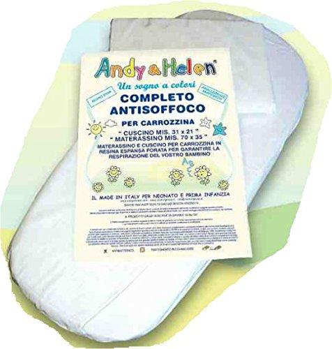 Completo set materassino e cuscino Neonati Carrozzina Ovetto Andy & Helen Antisoffoco