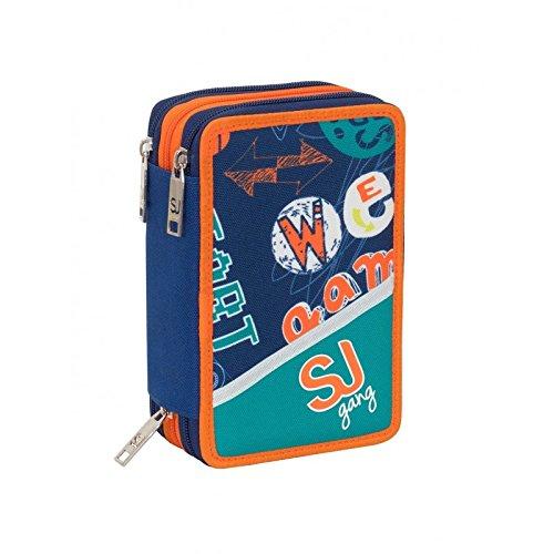 558fb2fb04 Estuche Escolar 3 cremallera completo SJ GANG Boy Seven Niño Colores Azul  Naranja