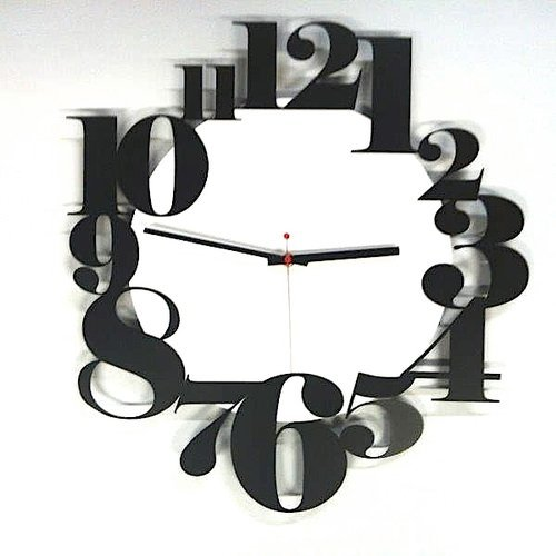 Horloge murale en métal laqué Numbers d cm.50 Blanc et Noir – Cadran solaire 236 – 100% Made in Italy