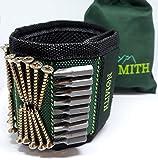 Magnetischer Armband mit Aufbewahrungsbeutel 10 kräftige Magneten zum Halten von Nägel, Schrauben, Bits, Bohrer & Kleinwerkzeugen Magnetarmband für bequemes & zügiges Arbeiten Handwerker Hilfe