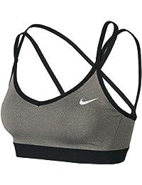 Nike Favorites Strppy Sujetador Deportivo, Mujer, Gris (Carbon Heather/Anthracite/Negro/Blanco), M