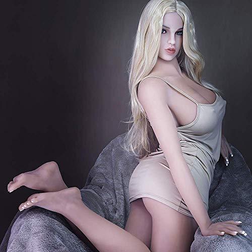 HRhetrin Blond Liebespuppen Weiblich Silikon Sexpuppe fur Manner Lebensecht Große Brust 160cm TPE Sex Puppen Big Butt