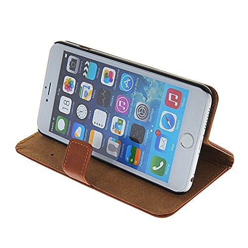 MOONCASE Housse de Protection Coque en Cuir Portefeuille Étui à rabat Case pour Apple iPhone 6 Plus Brun Brun 02