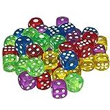 Scarlet Play | Würfelset »Casino 50« mit 50 Stück im Stoffbeutel; in Standardgröße für 6-seitige Würfel von 16 mm; Spielen wie im Kasino (bunt/transparent)