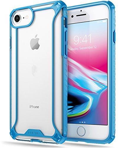 Poetic Affinity Custodia Protettiva Ibrida, TPU Presa Paraurti per Apple iPhone 7, Nero/Chiaro Blu TPU With Chiaro PC