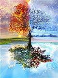 YEESAM ART Neuerscheinungen Malen nach Zahlen für Erwachsene Kinder - Vier Jahreszeiten Baum 16 * 20 Zoll Leinen Segeltuch - DIY ölgemälde ölfarben Weihnachten Geschenke (Baum, Mit Rahmen)