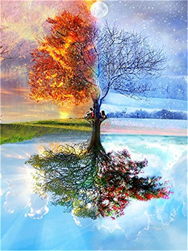 YEESAM ART Neuerscheinungen Malen nach Zahlen für Erwachsene Kinder - Vier Jahreszeiten Baum 16 * 20 Zoll Leinen Segeltuch - DIY ölgemälde ölfarben Weihnachten Geschenke (Baum, Mit ()