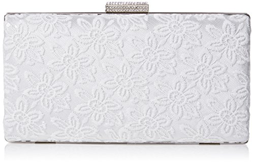 Quiz Womens Lace Sequin box Clutch White (White)