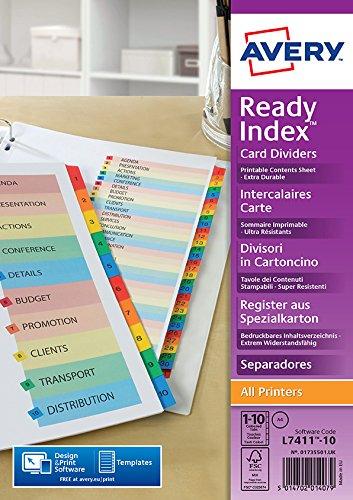Avery Zweckform 1735501 Spezialkarton Register (A4, Inhaltsblatt bedruckbar, 1 Set) mehrfarbig