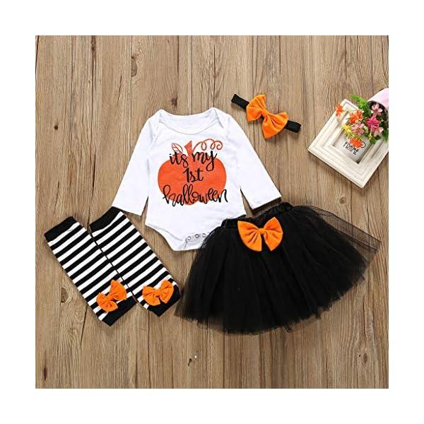Bebe Niña Halloween 4Pcs Bebé Niños Niñas Ropa Mono de Manga Corta Mameluco Calabaza Impresión Camiseta + Tutu Falda… 2