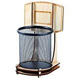 KWLET Noir Métal fil Maille stylo Porte-plume, en Bois de Basket-ball Montage Stand Stylo pot Ronde Anti Rouille Crayon Tasse pour Bureau Rangé