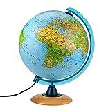 Globo terraqueo Iluminado Infantil 25cm con múltiples Ilustraciones, más Brillante. Pie de Madera, Meridiano Azul, Idioma Español - con lámpara LED