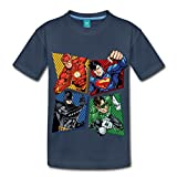 Spreadshirt DC Comics Justice League Superhelden Kinder Premium T-Shirt, 122/128 (6 Jahre), Navy
