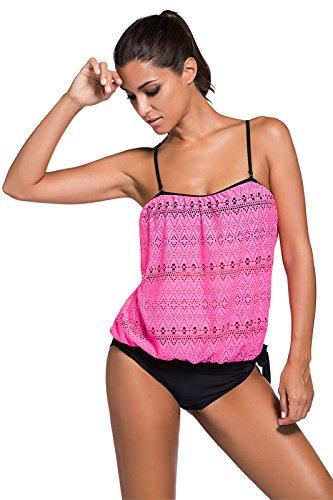 Set 2 Due Pezzi Costume da bagno Swimwear Swimsuit Beach Wear spalline Imbottito Tankini Top con Vita bassa Brief Slip da Bikini Rose rosso Lace