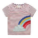 JUTOO Kleinkind-Säuglingsbaby scherzt Mädchen-Regenbogen-Druck-Streifen-T-Shirt Blusen-Kleidung (rot,2T)
