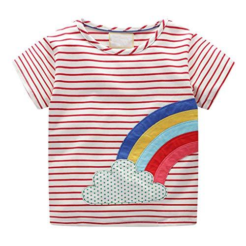 LEXUPE Mädchenbekleidung, Kleinkind SäUglingsbaby Scherzt MäDchen Regenbogen Druck T-Shirt Blusen Kleidung