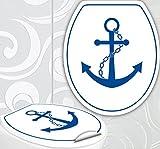 StickerProfis WC Sitz Aufkleber ANKER Design Folie Dekor für Toilettendeckel Klodeckel incl. 2 Fliesenaufkleber