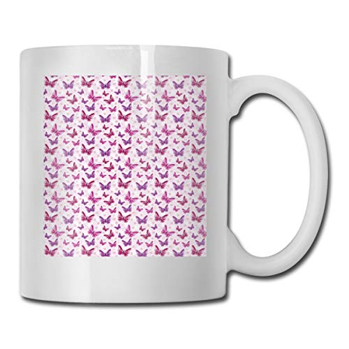 Jolly2T Funny Ceramic Novelty Coffee Mug 11oz,Abstract Butterflies On Floral Background Feminine Romance Illustration,Unisex Who Tea Mugs Coffee Cups,Suitable for Office and Home Butterfly Demitasse
