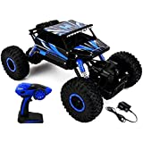 IndusBay Dirt Drift Waterproof Remote Controlled Rock Crawler RC Monster Truck, Four Wheel Drive, 1:18 Scale 2.4 Ghz - Blue