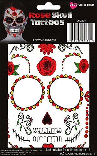 (ILOVEFANCYDRESS ENTFERNBARE/AUFKLEBBARE Gesichts Oder KÖRPER Tattoos Rosen Skull Tattoo)