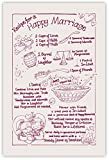 RECIPE FOR A HAPPY MARRIAGE Tea Towel 100% Cotton Natural/Maroon. Ideal Wedding / Anniversary Gift. Best Man