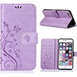 MOONCASE iPhone 6S Bookstyle Étui Fleur Housse en Cuir Case à rabat pour iPhone 6 / 6S 4.7-pouce Coque de protection Portefeuille TPU Case Violet clair