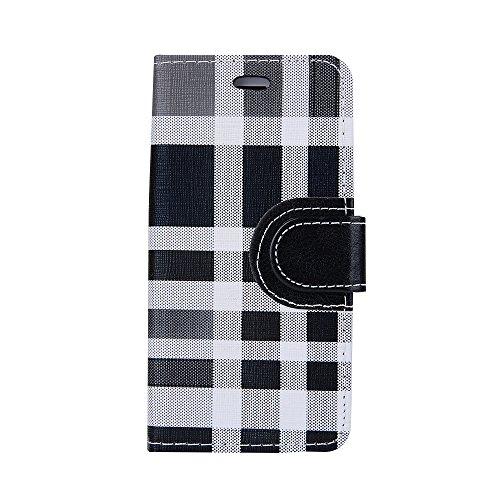Voguecase Pour Apple iPhone 7 4,7 Coque, Étui en cuir synthétique chic avec fonction support pratique pour iPhone 7 4,7 (Grille irrégulière-Noir)de Gratuit stylet l'écran aléatoire universelle Grille irrégulière-Noir