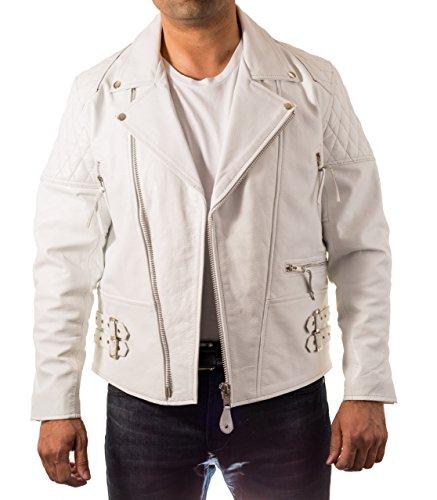 Hommes Brando Cross Zip RembourrŽ Quilted Žpaule et manches veste motard. Veste de cycliste double ceinture. Blanc