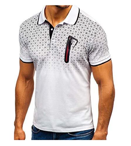 1ff13dec3a4b9 CuteRose Men Turn Down Collar Gradients with Pocket Summer Pique Polo Shirt  White 2XL