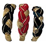Braided Hair Bands Set Of 3 (Black/ Red/Green With Gold)