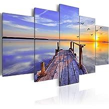 murando - Cuadro en Lienzo 200x100 cm - Naturaleza Cielo - Impresion en calidad fotografica - Cuadro en lienzo tejido-no tejido - Paisaje Puente Ocaso Mar c-B-0124-b-o