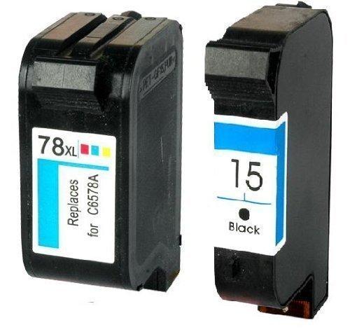 Bubprint 2 Druckerpatronen kompatibel für HP 15 & HP 78 für Deskjet 3810 3816 3820 3822 916C 920C 940C Officejet 5105 5110 PSC 720 750 950 Black Color