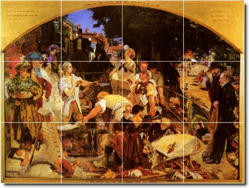 FORD MADOX BROWN PERSONAS DUCHA MURAL DE AZULEJOS 9  36X 48CM CON (12) 12X 12AZULEJOS DE CERAMICA