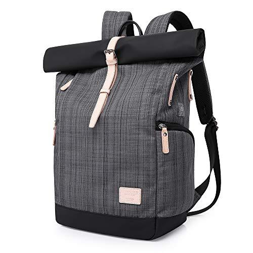 KAKA Wasserdichter Laptop-Rucksack, 15,6-Zoll-Männer-Frauen-Computer-Rucksack mit USB-Anschluss Roll-Top-BackpackAnti-Diebstahl-Rucksäcke für Reisen/Business/College (Gitter)